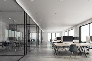 Bright coworking office interior