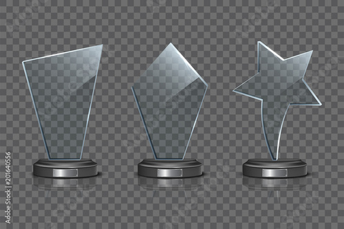 Fotografía  Glass Award template set isolated on transparent background