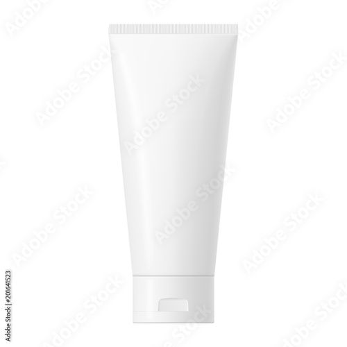 Fotografia  Vector white glossy plastic tube with cap