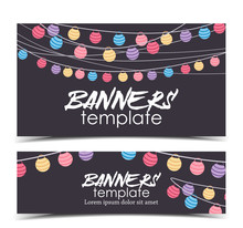 Vector Illustration With A Chain Of Colored Lanterns. Happy Birthday Card, Party Celebration. Banner Template