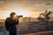 Cyclops Eyes, Sunstars Effect Through Male Photographer Eyes In Morning Sunrise, Travel Photography Concept