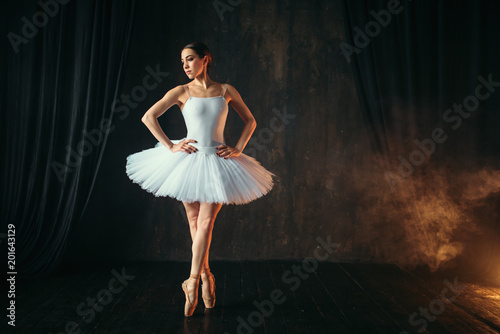 Fototapeta  Ballerina in white dress and pointe shoes dancing