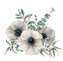 Watercolor White Anemone Bouqu...