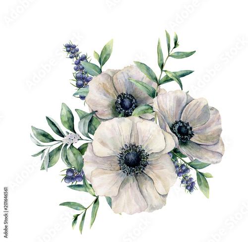 Carta da parati Watercolor white anemone and berry bouquet