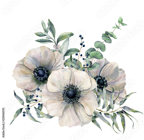 Canvas-taulu Watercolor white anemone bouquet