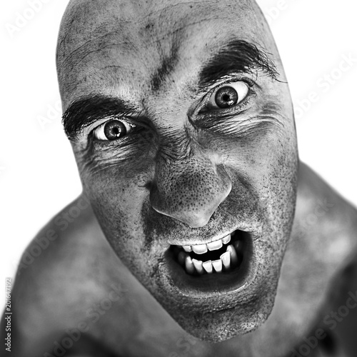 Black and white portrait of mad man processed using the dragan effect Canvas Print