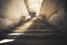 Dark Stairway Made Of Stone, U...