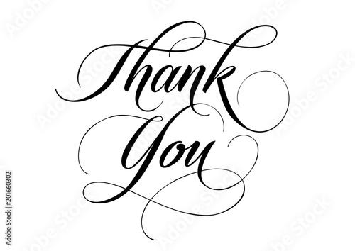 Obraz na plátně Thank You lettering with swirls