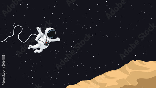 Photographie astronaut jumping on asteroid