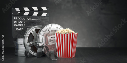 Cinema Movie Concept Background Film Reel And Tape Popcorn And