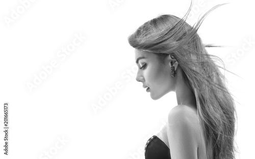 Fotografie, Obraz  Fashion model girl with long blowing hair