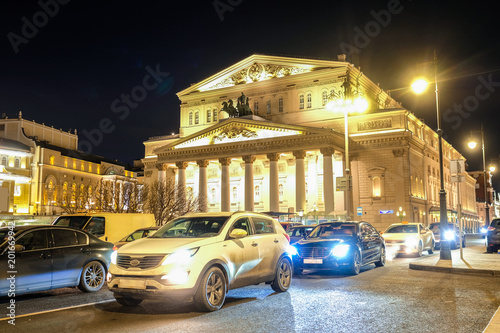 Foto op Aluminium Theater Moscow, Russia - March, 23, 2018: View of the Bolshoy Theatre facade in Moscow at night