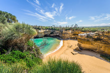 Bright Sunny Summer Coast View To A Beautiful Sandy Beach Bay And Rocky Erosion Sand Limestone Cliff Of Great Ocean Road, Walking At Loch Ard Gorge, Port Campbell National Park, Victoria/ Australia