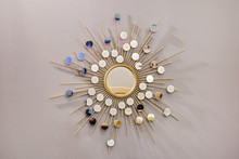 Decorative Wall Round Mirror In The Shape Of The Sun, A Golden Cooper Mirror, Modern Shape In The Scandinavian Style