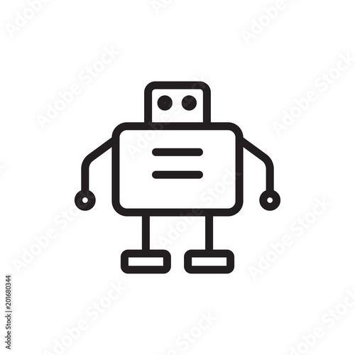 Fotografie, Obraz  robot, droid outline vector icon