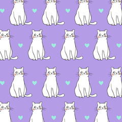 Vector illustration pattern background design of cat on purple pastel color and little heart Draw doodle cartoon style