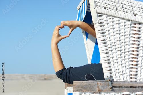 Spoed Foto op Canvas Noordzee Herzliche Grüße vom Strand