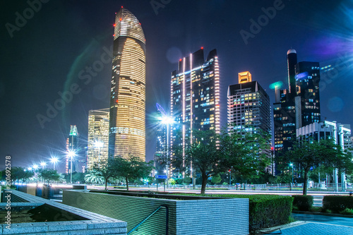 Canvas Prints Abu Dhabi Beautiful view of Abu Dhabi skyline at night, United Arab Emirates