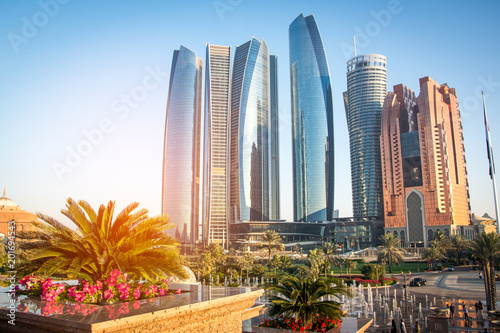 Fototapeta Skyscrapers in Abu Dhabi, United Arab Emirates.