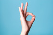 canvas print picture - Female hand shows gesture OK