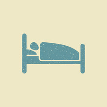 Person In Bed. Hotel Flat Icon...