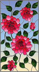 Fototapeta Witraże świeckie Illustration in stained glass style with flowers, buds and leaves of pink roses on a blue background