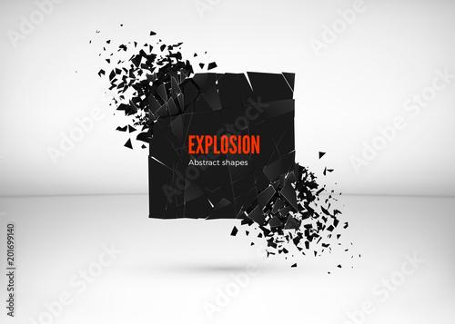 Papel de parede Shatter and destruction dark square effect