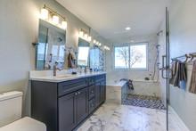 Luxury Bathroom Interior With Marble Floor.