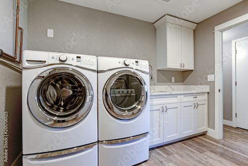 Fotografie, Obraz  Laundry room with taupe walls and modern appliances.