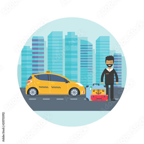 new product 67c98 b6948 Machine yellow cab with driver and baggage in the city ...