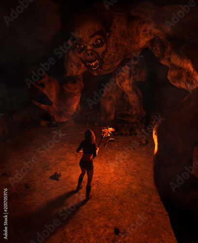 Wall Murals Magenta 3d illustration of the girl with torchlight discover a monster in derelict cave,3d fantasy art for book cover,book illustration