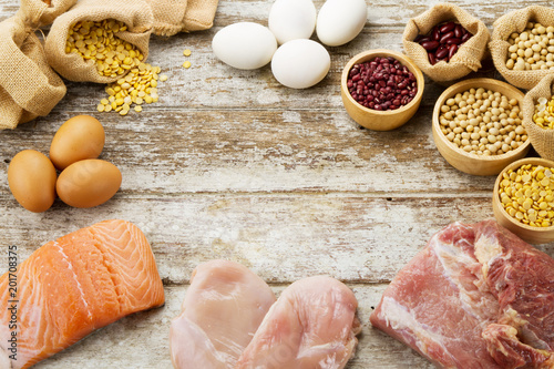 Photo  High protein food of fish, chicken, beef in Diet and healthy food