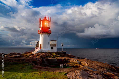Foto op Plexiglas Vuurtoren Lindesnes Fyr Lighthouse, Norway
