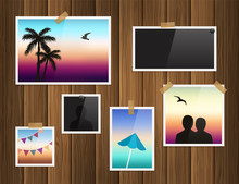 Photo Frames Attached With Adhesive Tape And Thumbtacks On Wood Background. Vector.