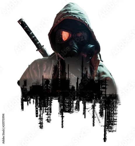abstract post apocalyptic double exposure  Wall mural