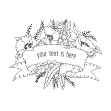 Ribbon For Your Inscription With Flowers: Poppies, Leaves, Buds And Branches In Outline For Coloring