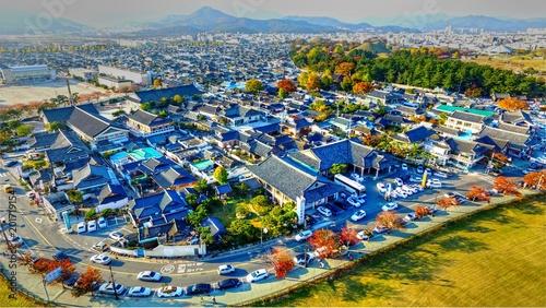 Aluminium Prints Dark grey Autumn of Gyochon Traditional Village at Gyeongju, South Korea, ASia