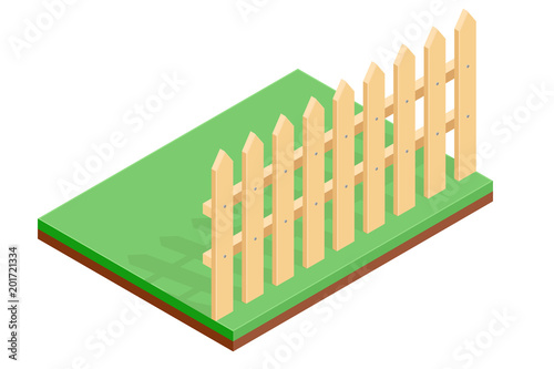 Wooden fence on green ground. Isometric drawing Poster Mural XXL