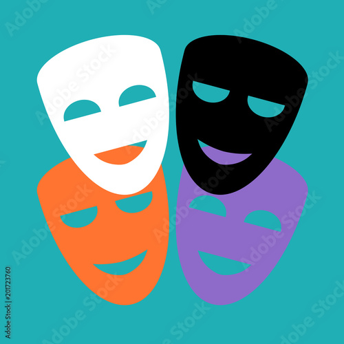 Fotografía  Set of symbolic colored masks on a blue background