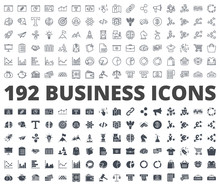 Business Icon Vector Line Silhouette Pack