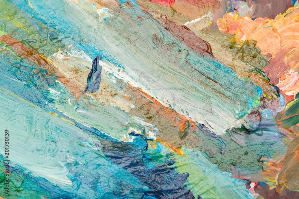 Fototapeta bright oil paint palette close up
