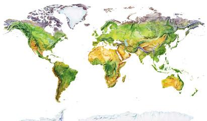 Fototapeta Skandynawski Watercolor geographical map of the world. Physical map of the world. Realistic image. Isolated on white background