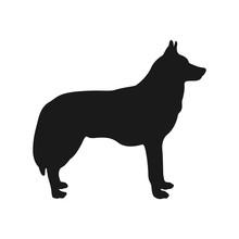 Dog Silhouette Husky. Vector