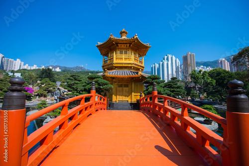 The golden pavilion and red bridge at Nan Lian garden, Hong Kong Poster