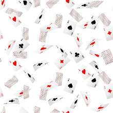 Seamless Pattern Of Ace Playing Cards. Falling Playing Cards. Back Side Design. Vector Illustration On White Background. Web Site Page And Mobile App Design
