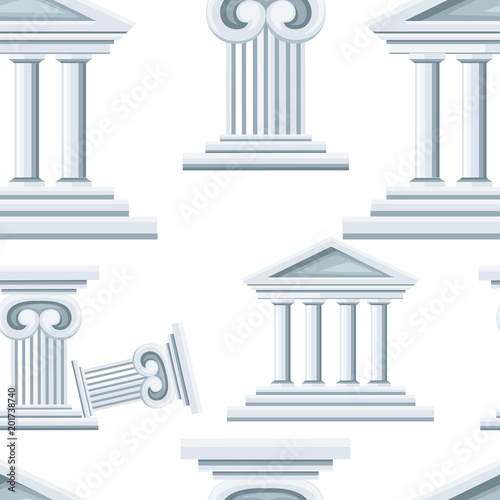 Seamless pattern of greek temple and column Canvas Print