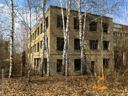 Fotografía  Abandoned brick multi-storey house without windows in the forest