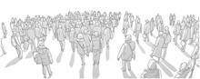 Illustration Of Large City Crowd Walking In Perspective In Black And White Grey Scale
