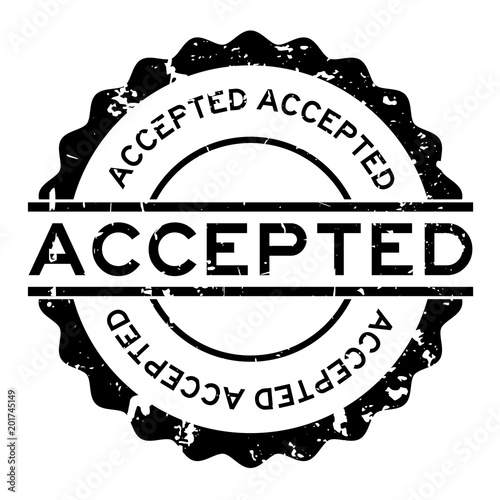 Grunge black accepted word round rubber seal stamp on white background Canvas Print