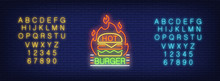 Hot Burger Logotype Neon Sign. Yellow And Blue Sets Of English Alphabet And Numbers. Neon Sign, Night Bright Advertisement, Colorful Signboard, Light Banner. Vector Illustration In Neon Style.